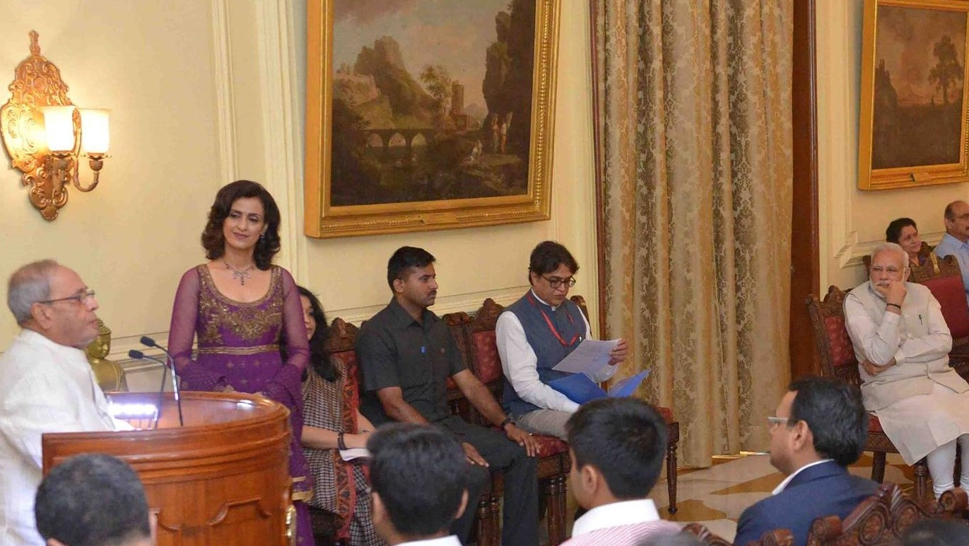 Shivani presenting President Pranab Mukherjee's Coffee Table Book Launch by Prime Minister Narendra Modi at Rashtrapati Bhawan, New Delhi