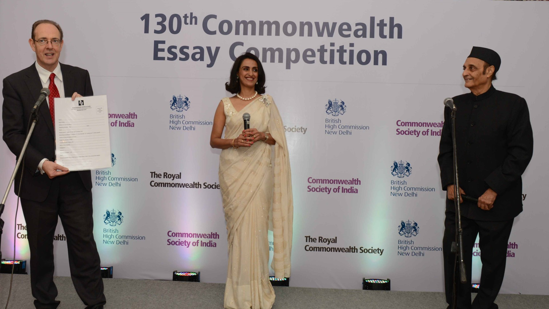 Shivani launched the Commonwealth Queen's Essay Competition with British High Commissioner to India Sir James Baven and former Union Cabinet Minister Karan Singh